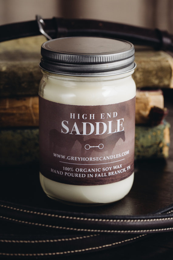Equestrian home decor: Grey Horse Candle Co High End Saddle Organic Soy Candle