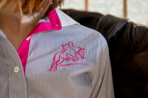 Red Scarf Equestrian Quintessential Stripe Shirt Navy