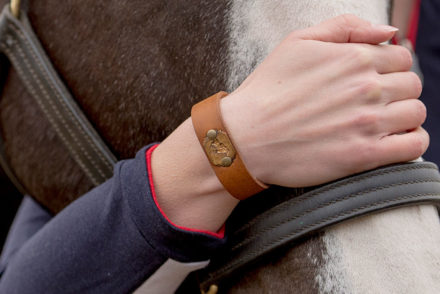 Luke & Lyla Designs Vintage Jockey Race Horse Equestrian Leather Cuff Bracelet