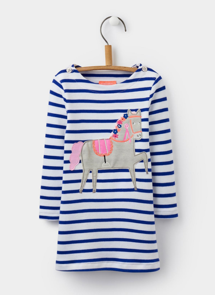 Equestrian Baby: Joules Kaye Pool Blue Stripe Applique Jersey Dress