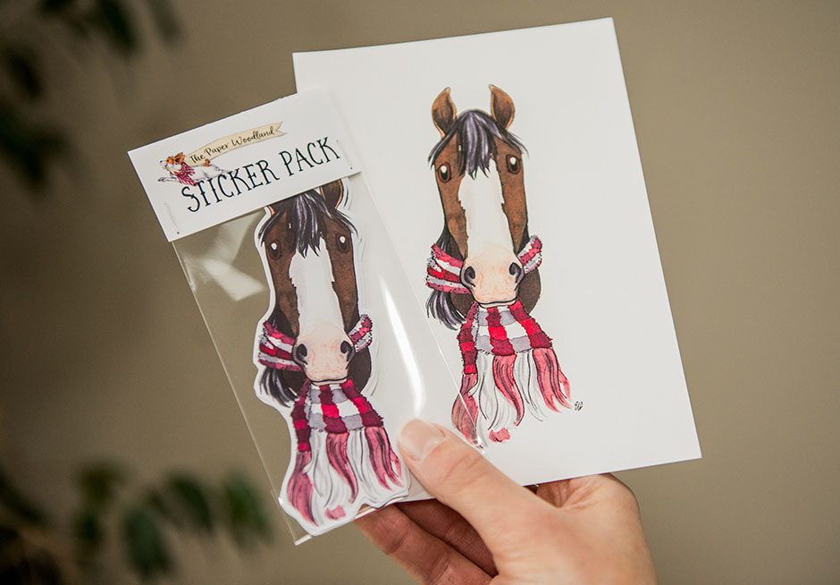 Custom Whimsical Horse Portrait Illustration by The Paper Woodland